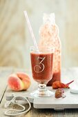 Beetroot smoothie with peaches