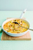Omelette with potatoes, chicken breast and leek