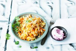 Saffron rice with carrots and almonds