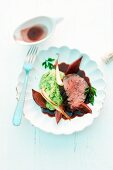 Ox fillet poached in Barolo with Hamburg root purée