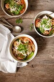 Oriental chicken and prawn soup with bean sprouts