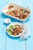 Buchweizenauflauf mit Gemüse und Fleischbällchen