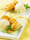 Sponge cake with apple sauce and vanilla ice cream
