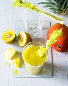 Yellow Submarine: a smoothie made with pineapple, mango, kiwi and celery