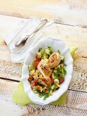 Lye bread salad with peppered chicken