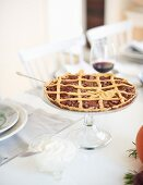 Pecan lattice tart a table laid for Thanksgiving