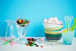 Various toppings for ice cream sundaes