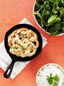 Garlic prawns with a side salad
