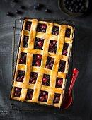 Blueberry and cherry lattice tart