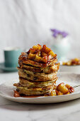 Warm French toast with apple compote