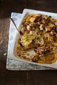 Fennel and bacon bake with croutons
