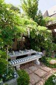 Garden table set for family celebration