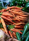 Fresh carrots at a market