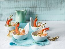 Prawn skewers with herb mayonnaise