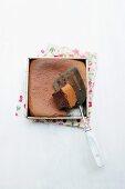 A square chocolate cake