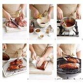 Char siu (grilled pork) being made