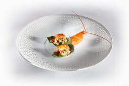 Grilled crayfish on pepper leaves