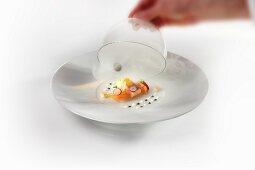 An arrangement of char confir, caviar, tartar and rollmop herring