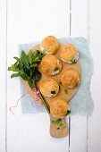 Gougeres filled with goat's cream cheese and mint