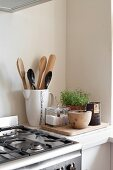 Detail of kitchen counter with cooking utensils in retro jug and potted herbs next to gas cooker