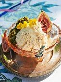 Rum and raisin ice cream with figs