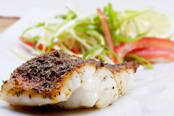 Grilled Cajun-style fish fillet with a salad