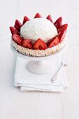 A strawberry and coconut cheesecake
