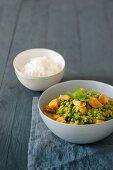 Pea and sweet potato curry