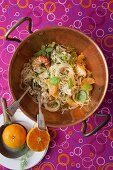 Linguine with mandarins, chilli and lobster sauce