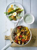 ADHD food: Spring vegetables with a dip and a vegetable stir fry
