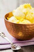 Honeycomb with vanilla ice cream, England
