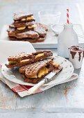 Chocolate waffles with banana