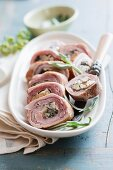 Sliced pork roulade