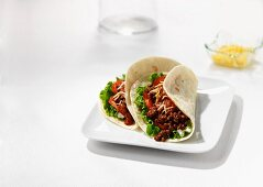 Wheat tortillas filled with beef