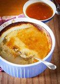 Tapioca pudding with apricot jam
