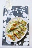 Asparagus and feta frittata, sliced