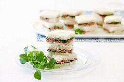 Roast beef, mustard and watercress sandwiches