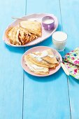 Pancakes with vanilla quark served with a banana milkshake