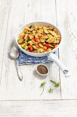 Fusilli with courgettes, tomato and dill