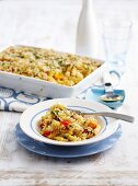 Pasta bake with roasted vegetables