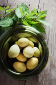 Hens' eggs dyed using nettles in green glass vessel on wooden table