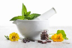 Healing herbs and flowers with pills