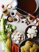 Ingredients fro Hu Tieu Mi Di, a Vietnamese dish