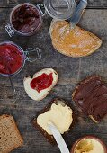 Plum jam, hazelnut butter and chocolate spread