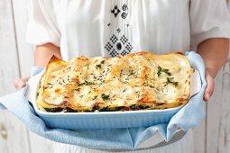 Salmon, spinach and tomato lasagne