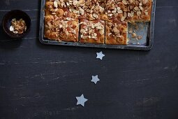 Christmas butter cake with marzipan