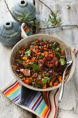 Emmer wheat salad with pepper and bacon