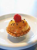 A mini cheesecake in a shortcrust tartlet with a raspberry