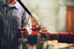 Männer verkosten Wein im Keller