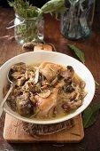 Pollo alla boscaiola (chicken with mushrooms, Italy)